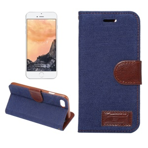 Jeans Cloth Flip Leather Stand Shell for iPhone 8 / 7 4.7 inch - Dark Blue