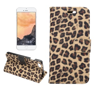 Leopard Pattern Leather Wallet Case for iPhone 7 - Brown