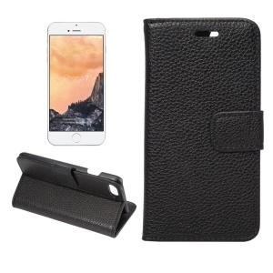 Litchi Grain Wallet Leather Case for iPhone 7 4.7 inch - Black