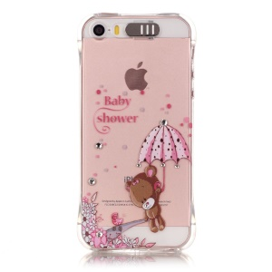 Incoming Call Bling Crystal Decoration Gel TPU Cover for iPhone SE/5s/5 - Cute Bear Holding Umbrella