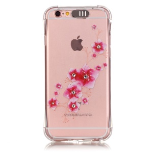 Incoming Call Flash TPU Phone Shell for iPhone 6s Plus/ 6 Plus Rhinestone Decoration - Fresh Flower