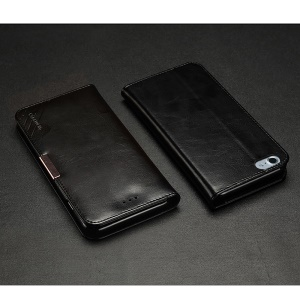 KLD Royale II Series Genuine Leather Wallet Cover for iPhone 8 Plus / 7 Plus 5.5 inch - Black