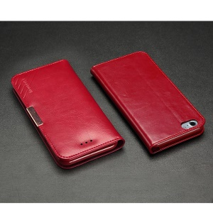 KLD Royale II Series Genuine Leather Stand Case for iPhone 8 Plus / 7 Plus 5.5 inch - Red