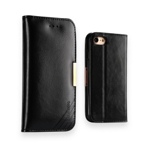 KLD Royale II Series Genuine Leather Wallet Case for iPhone 8 / 7 4.7 inch - Black