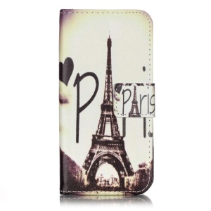 Patterned PU Leather Wallet Stand Case for iPhone 7 4.7 Inch - Paris Eiffel Tower