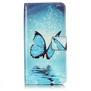 Wallet Leather Stand Case for iPhone 7 Plus - Blue Butterfly