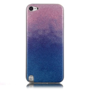 Gradient Color Glitter Powder TPU Gel Cover for iPod Touch 6/5 - Pink / Dark Blue