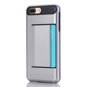 Card Slot PC + TPU Hybrid Back Case for iPhone 7 Plus - Grey