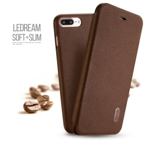 LENUO Ledream Flip Leather Case Accessory for iPhone 7 Plus 5.5 inch - Brown