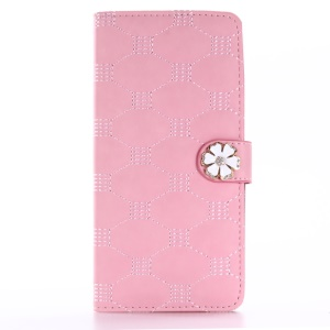 Rhinestone Flower Stitching Leather Phone Case Wallet for iPhone 7 Plus 5.5 - Pink