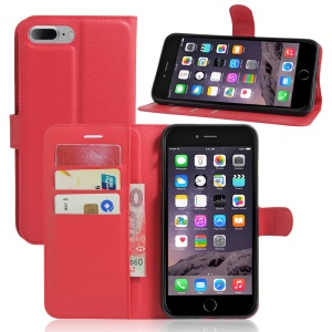 Litchi Texture Wallet Stand Leather Shell for iPhone 8 Plus / 7 Plus 5.5 inch - Red