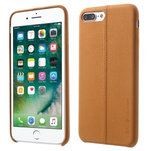 USAMS Joe Series Litchi Texture Leather Back Shield Case for iPhone 8 Plus / 7 Plus 5.5 inch - Light   Brown
