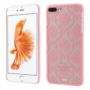 Damask Flowers Rubberized Hard Shell Case for iPhone 7 Plus - Pink