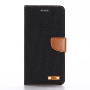 Oxford Cloth Leather Wallet Stand Cover for iPhone 7 Plus - Black