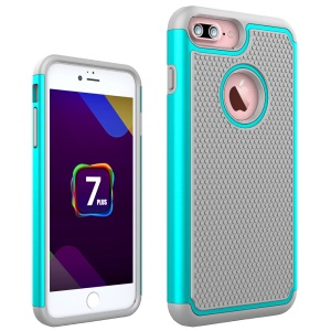 Football Grain PC + Silicone Phone Cover for iPhone 8 Plus / 7 Plus 5.5 inch - Cyan