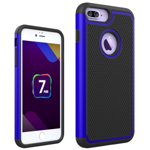 Football Grain PC + Silicone Protector Case for iPhone 8 Plus / 7 Plus 5.5 inch - Blue