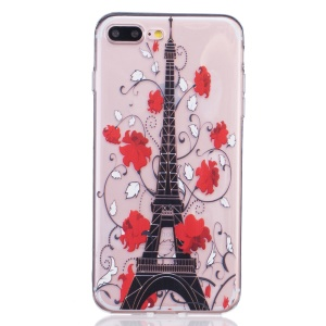 For iPhone 8 Plus / 7 Plus 5.5 Embossing TPU Back Case Cover - Eiffel Tower and Red Flower