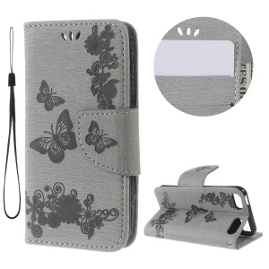 Imprint Butterfly Flowers Leather Wallet Cover for iPod Touch 6 / Touch 5 - Grey