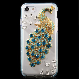 3D Metal Peacock Rhinestone TPU + PC Back Case for iPhone 7 4.7 - Baby Blue