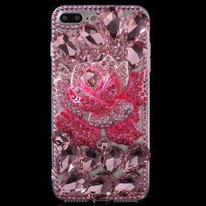 Charming Rhinestone 3D Metal Rose TPU PC Hybrid Case for iPhone 7 Plus - Pink