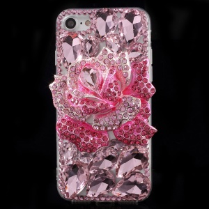Rhinestone 3D Metal Rose TPU PC Hybrid Phone Case for iPhone 7 4.7 - Pink