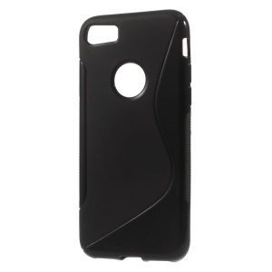S Shape TPU Case for iPhone 7 4.7 inch - Black