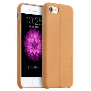 USAMS Joe Series Litchi Texture Leather Back Shell for iPhone 8 / 7 4.7 inch - Light Brown