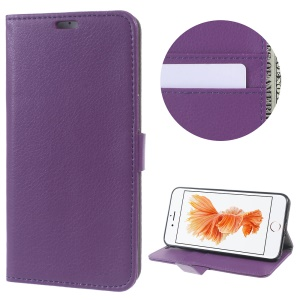 Litchi Skin Wallet Stand Leather Cover for iPhone 7 Plus 5.5 inch - Purple