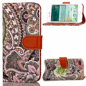 Abstract Flower Wallet Leather Cover for iPhone 7 Plus 5.5-inch with Stand - Brown / Grey