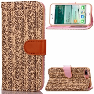 Woven Pattern Wallet Stand Leather Folio Phone Shell for iPhone 7 Plus 5.5 inch - Brown
