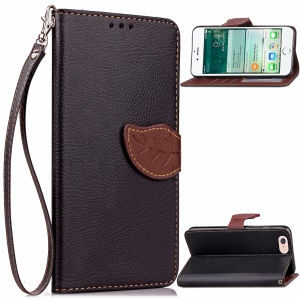 Folha Magnetic Flap Leather Wallet Case para iPhone 8 / 7 4.7 inch - negro