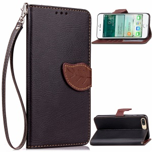 Leaf Shape Magnetic Flap Leather Wallet Case for iPhone 8 Plus / 7 Plus 5.5 inch - Black
