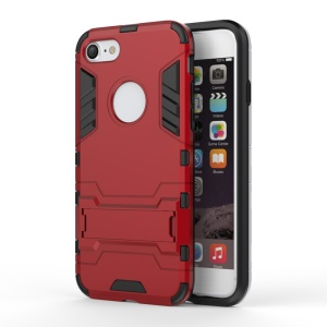 Solid PC + TPU Hybrid Shell with Kickstand for iPhone 8/7 - Red