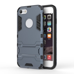 Solid PC + TPU Hybrid Phone Case with Kickstand for iPhone 8/7 - Dark Blue