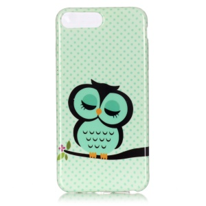 Patterned Glossy TPU Case for iPhone 7 Plus 5.5 Inch - Green Owl on Branch