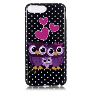 Patterned TPU Skin Case Cover for iPhone 7 Plus 5.5 Inch - Love Owl Family