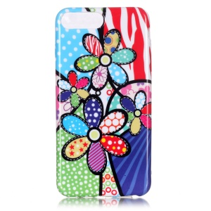 For iPhone 7 Plus 5.5 Inch TPU Case Patterned Gel Cover - Lovely Colorful Flowers