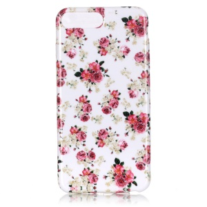 TPU Skin Patterned Glossy Cover for iPhone 7 Plus 5.5 Inch - Peony Blossom