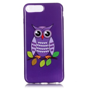 Glossy Gel Skin TPU Patterned Cover for iPhone 7 Plus 5.5 Inch - Purple Owl