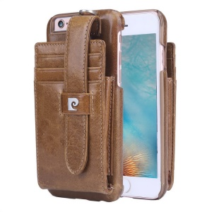 PIERRE CARDIN Genuine Leather Coated Hard Back Case Card Holder for iPhone 6s 6 - Brown