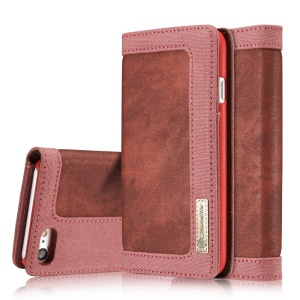 CASEME Wallet Stand Canvas Leather Case Shell for iPhone 8 / 7 4.7 inch - Red