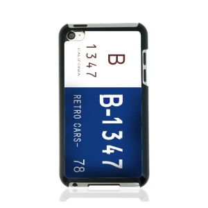 Creative Car Number Hard Case for iPod Touch 4 - White / Blue