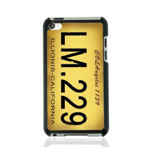 Creative Car Number Hard Shell Case for iPod Touch 4 - Yellow