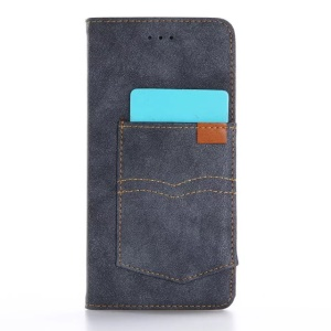 Vintage Matte Leather Cover Wallet Stand for iPhone 7 Plus 5.5 Inch - Dark Blue