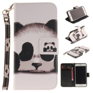 Leather Wallet Case Cover with Wrist Strap for iPhone 6s 6 4.7 - Panda