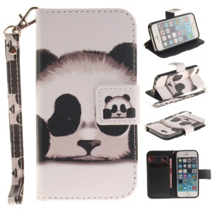 Patterned Leather Wallet Stand Case for iPhone SE/5s/5 with Wrist Strap - Panda