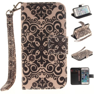 Patterned Stand Leather Wallet Cover for iPhone SE/5s/5 with Handy Strap - Symmetrical Pattern