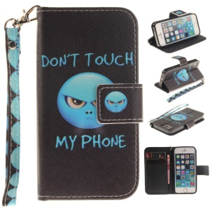 Pattern Printing Wallet Leather Stand Shell for iPhone SE/5s/5 with Wrist Strap - Do Not Touch My Phone