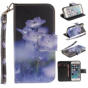 Wallet Stand Leather Patterned Case for iPhone SE/5s/5 with Wrist Strap - Purple Flowers