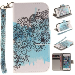 Illustration Flip Leather Wallet Stand Case for iPhone SE/5s/5 with Wrist Strap - Abstract Flower